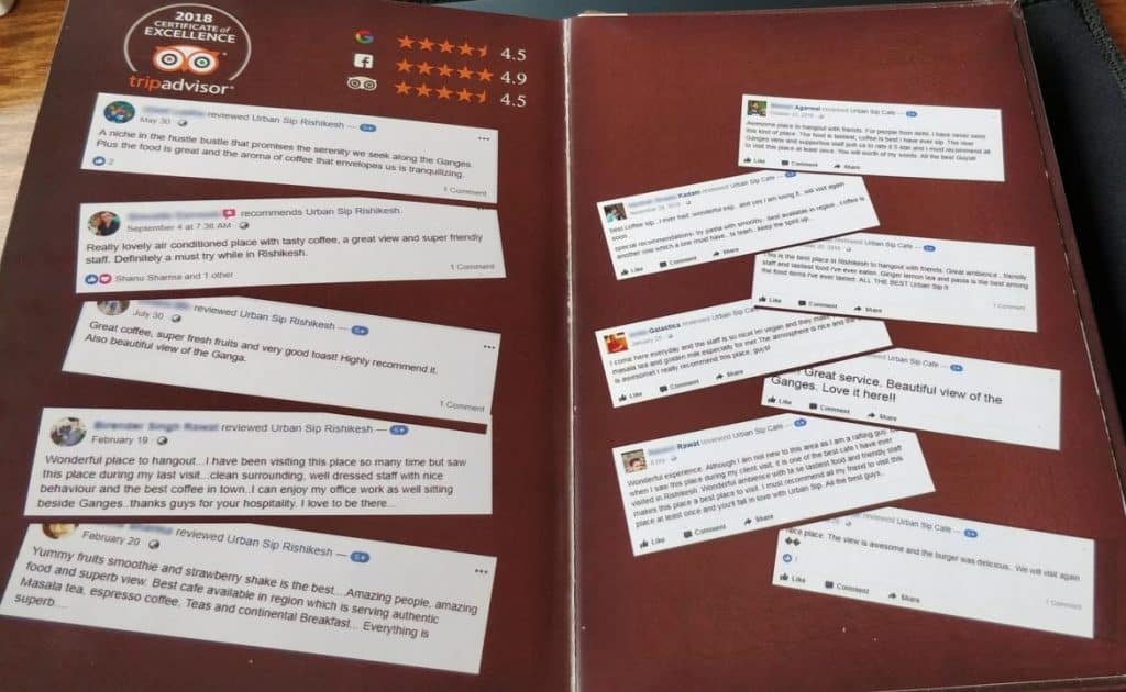 Trip Advisor and Facebook reviews examples in marketing materials