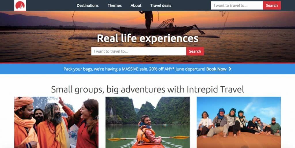 intrepid travel home page and tagline