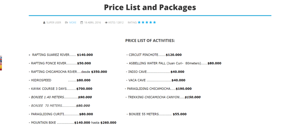 price list from a tour company