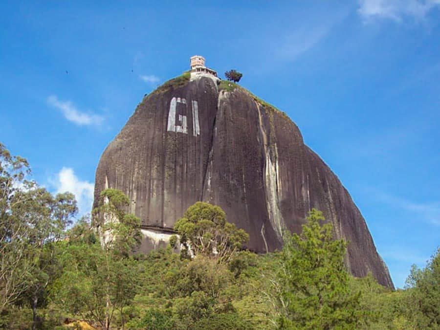 The view of the rock of Guatape with GI painted on it