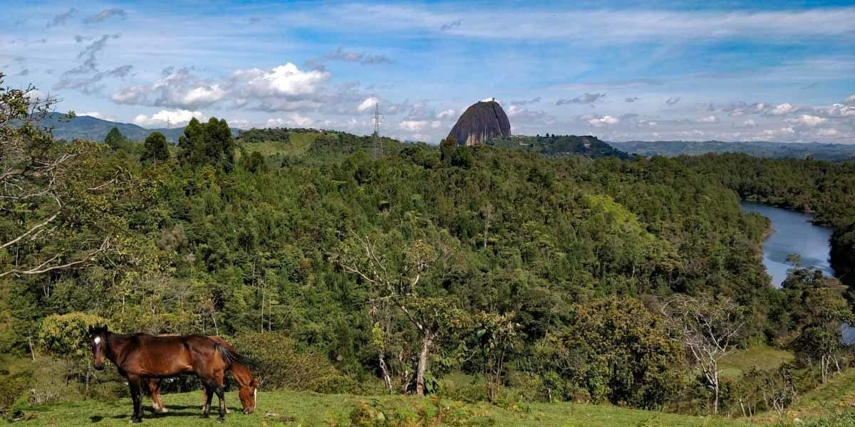 views of the guatape mountain just outside the town of Guatape