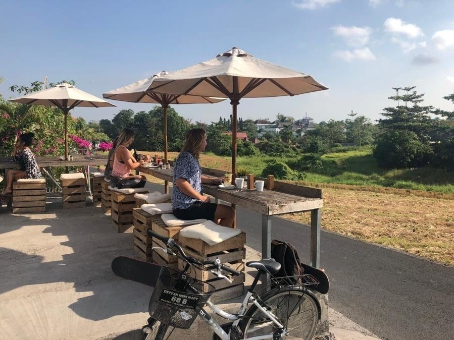 Some of the eating locations in Digital Nomad Life - Patios in Canggu, Bali