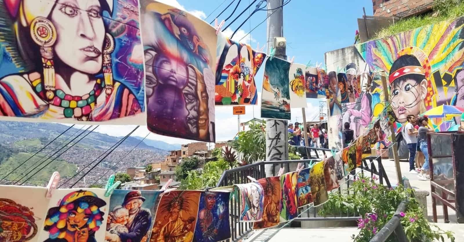 san javier medellin graffiti and selling stalls