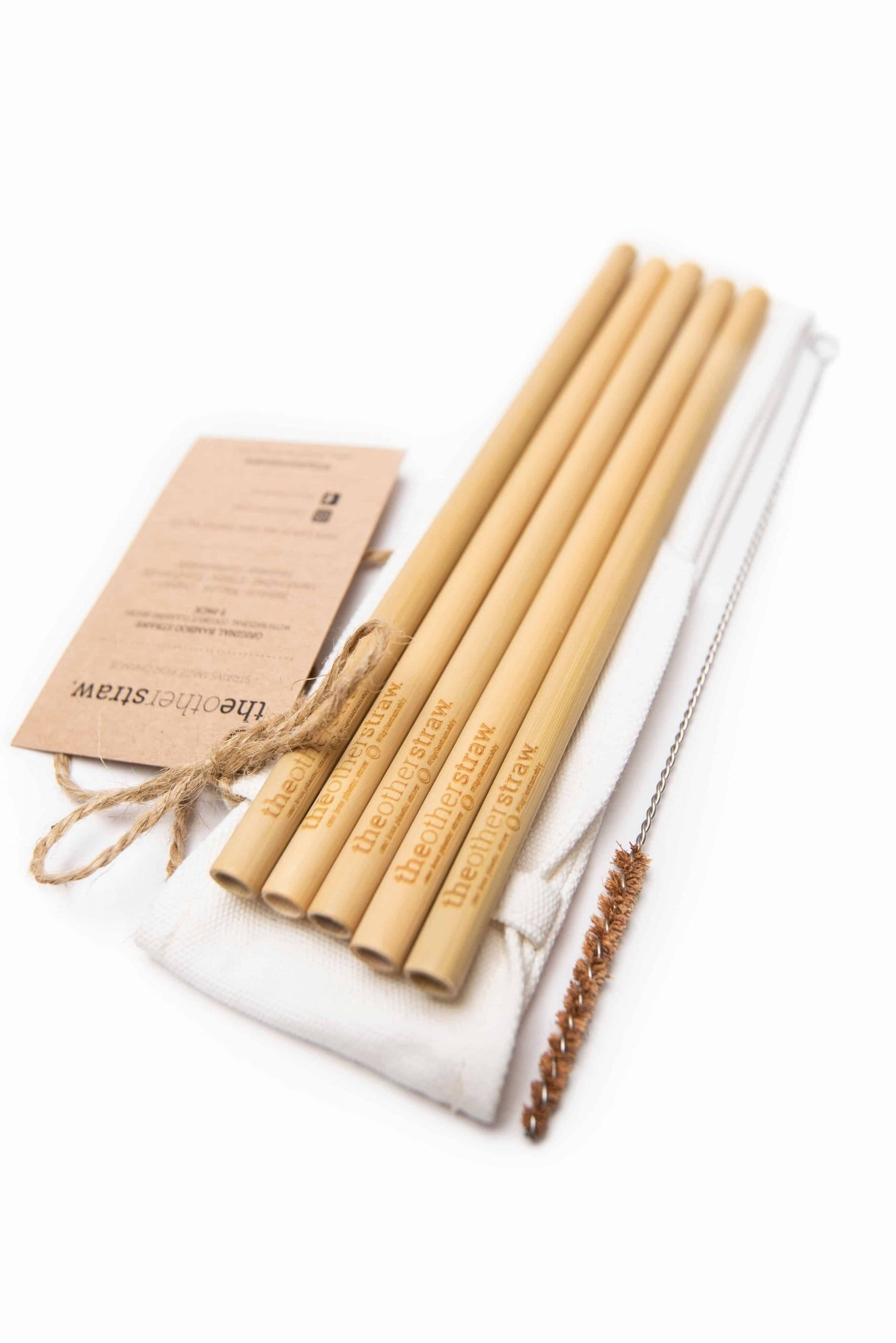 Sustainable gift ideas from the other straw- reusable bamboo straws, carry case and cleaning brush
